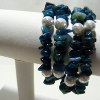 Appitite and Shell Pearl Stacker Bracelet