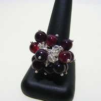 Cherry Red Agate and Clear Quartz Gemstone Adjustable Ring
