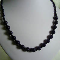 Amethyst and Black Agate Necklace