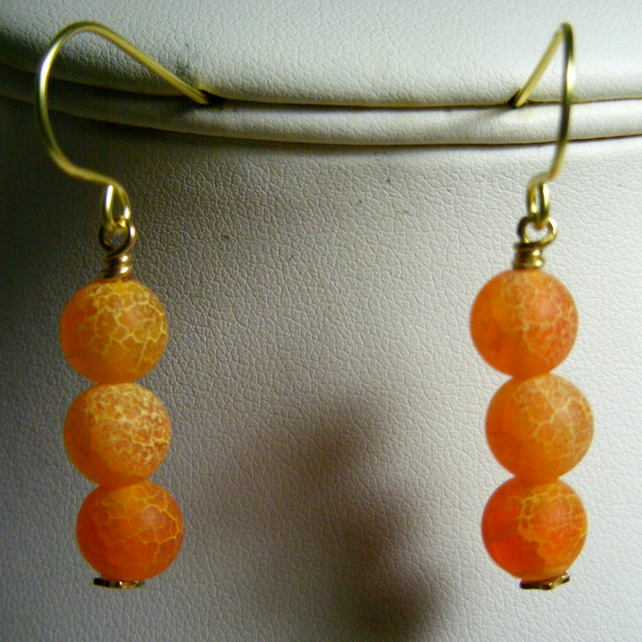 Orange Frosted Crackled Agate Earrings