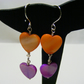 Purple and Orange Shell Heart Earrings