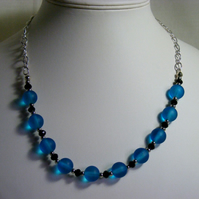 Silver Black and Blue Necklace