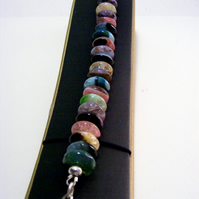 Black Agate and Multi-Colour Crackled Quartz Bracelet