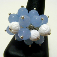 Blue Quartz and White Shell Adjustable Ring