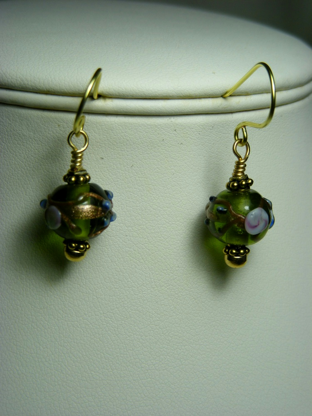 Green Flower Lampwork Earrings