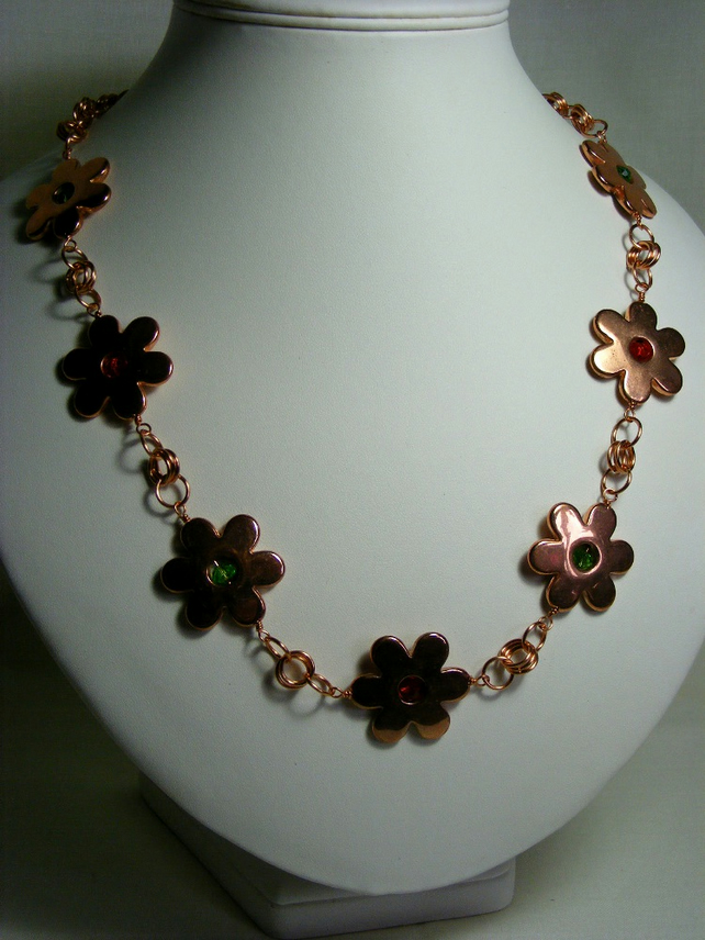 Copper Daisy Chain Maille Necklace