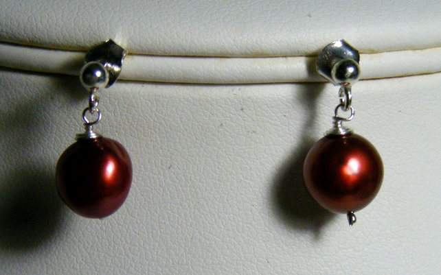 Cherry Freshwater Cultured Pearl Earrings