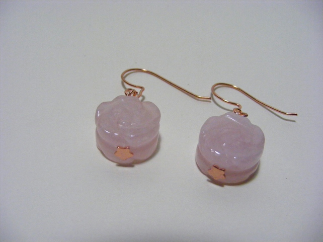 Rose Quartz Carved Flower Gemstone Earrings