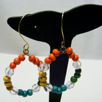 Yellow, Orange, Green and Blue Hoop Earrings