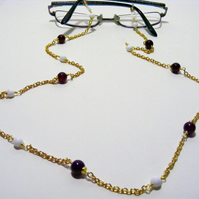 Cherry Agate and White Shell Spectacle Chain
