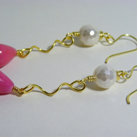 Quartzite and Shell Pearl Earrings