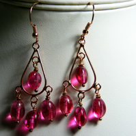 Fuchsia Quartz Gemstone Earrings