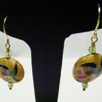 Yellow Cloisonne and Peridot Earrings
