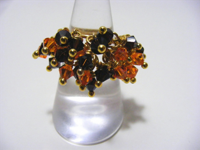 Orange and Brown Swarovski Adjustable Ring