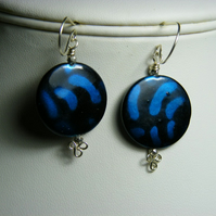 Blue and Black Shell Coin Earrings