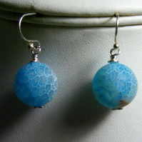 Blue Frosted Crackled Agate Earrings