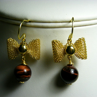 Red Tigers Eye with Gold Bow Earrings