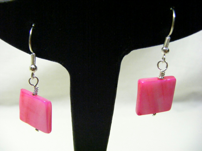 Pink Square Shell Earrings