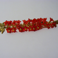 Gold Maple Leaf and Red Flower Bag Charm