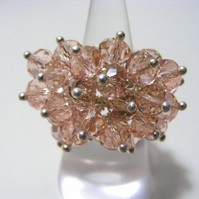 Peach Glass Adjustable Cluster Ring