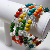 Multi Colour Wood beaded Stacker Bracelets