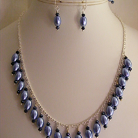 Lilac and Black Glass Pearl Jewellery Set