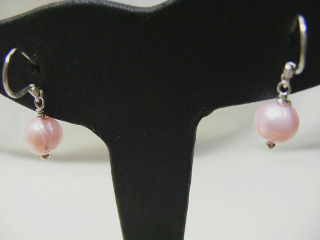 Light Pink Cultured Pearl with Sterling Silver Earrings