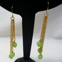 Apple Green Quartzite Tassel Earrings