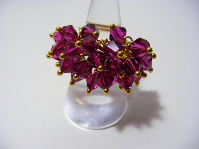 Fuchsia Adjustable Crystal Ring
