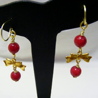 Red Quartzite and Gold Bow Earrings