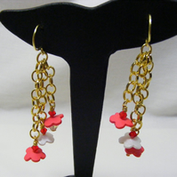 Red and White Polymer Flower Chain Earrings