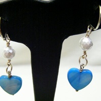 Shell Pearl and Shell Heart Earrings