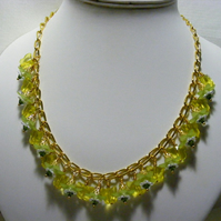 Lemon and Lime Flower and Butterfly Necklace