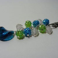 Turquoise and Green Resin and Clear Glass Bag Charm
