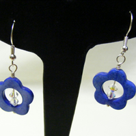Blue Flower Shell Earrings