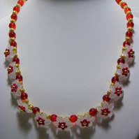Red and White Flower Necklace