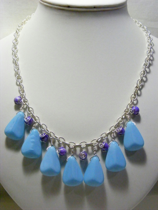 Pale Blue and Purple Necklace