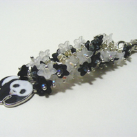 Panda and Monochrome Flower Bag Charm