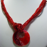 Red Pendant and Seed Bead Necklace