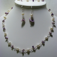 Freshwater Pearl and Cebu Purple Seashell Rosary Jewellery Set