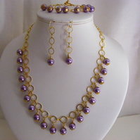 Purple Glass Pearl Charm Jewellery Set