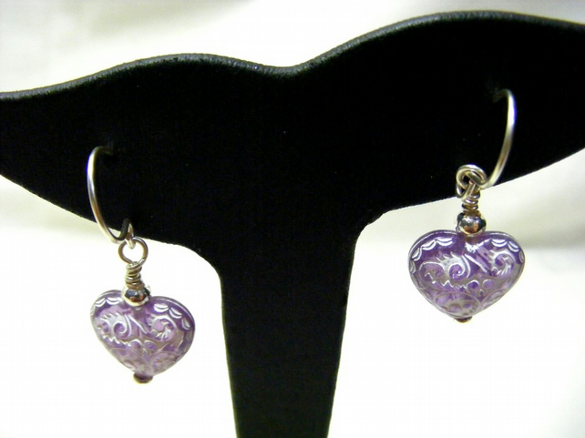 Acrylic White and Purple Heart Earrings