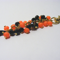 Orange and Black Bag Charm