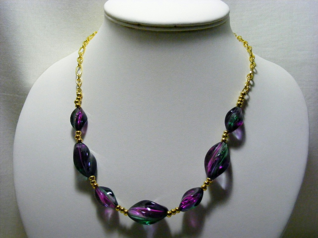 Green and Purple Acrylic Necklace