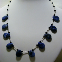 Sodalite and Onyx Gemstone Necklace
