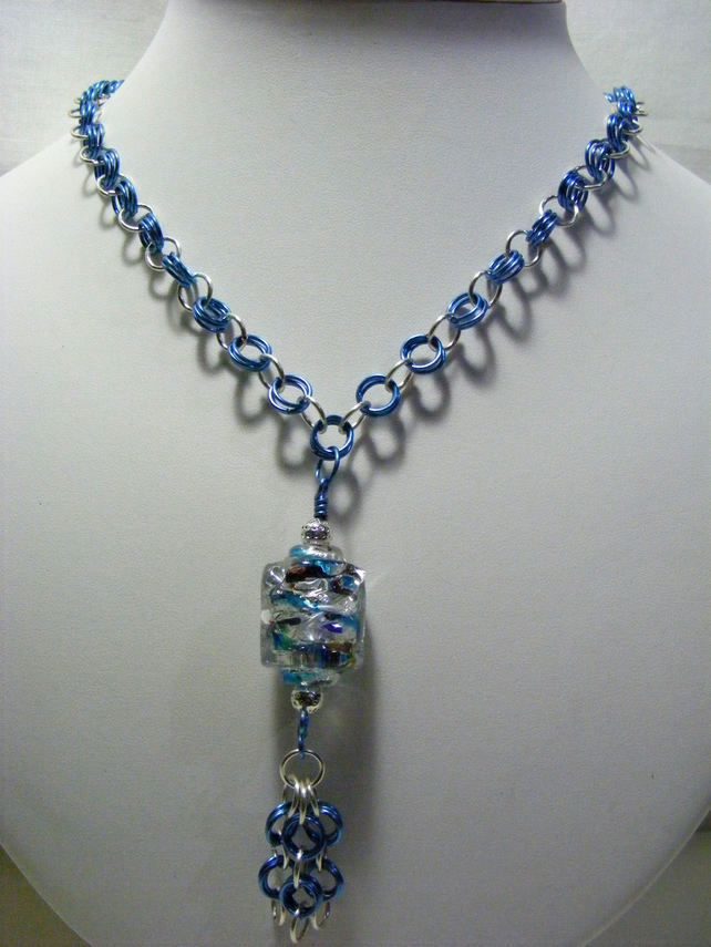 Blue Chainmaille with Glass pendant Necklace