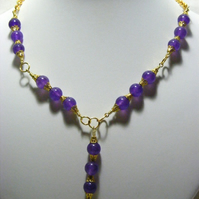 Purple and Gold Chain Necklace