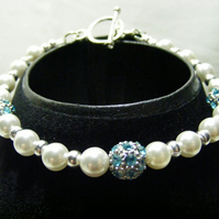 Shell Pearl and Turquoise Rhinestone Bracelet