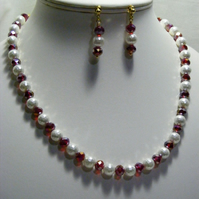 Shell Pearl and Ruby Red Crystal Jewellery Set
