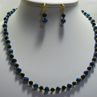 Black and Blue Iris Crystal Jewellery Set